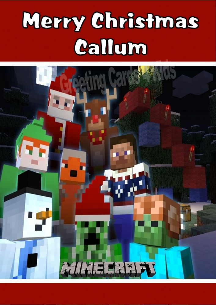 personalised minecraft christmas card design 2